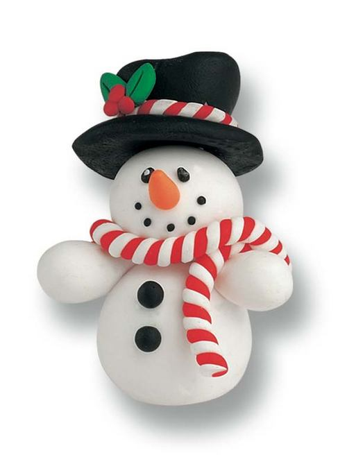 Snowman With Top Hat 50mm Claydough Cake Topper