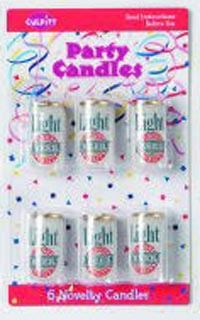 Cake Decorating Candle-Blister Pack-Light Beer Can-6Pce