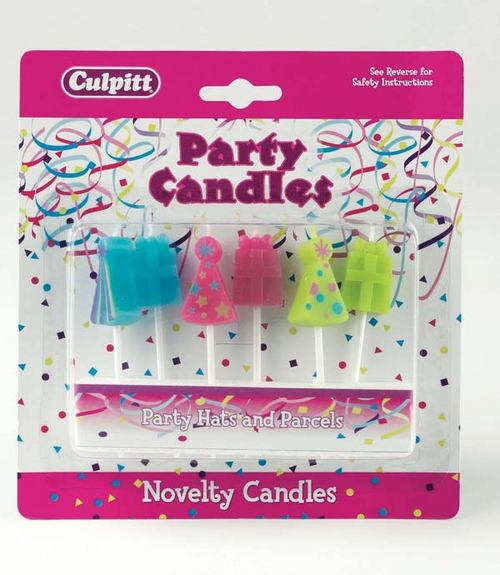 Cake Decorating Candle-Party Hats & Parcels-6Pce