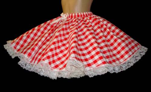 SKI-05  CHECKERED RED/ WHITE TAFETTA SKIRT - FULL CIRCLE
