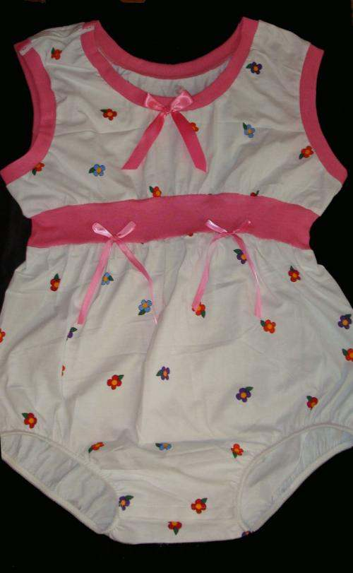 BYB-R1 Baby Romper Pink & White