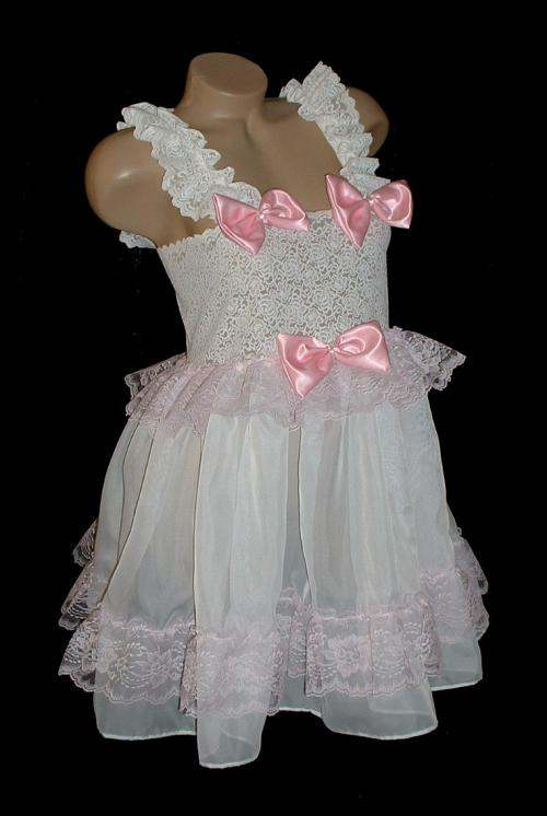 BD-1  WHITE & PINK Baby Doll Dress